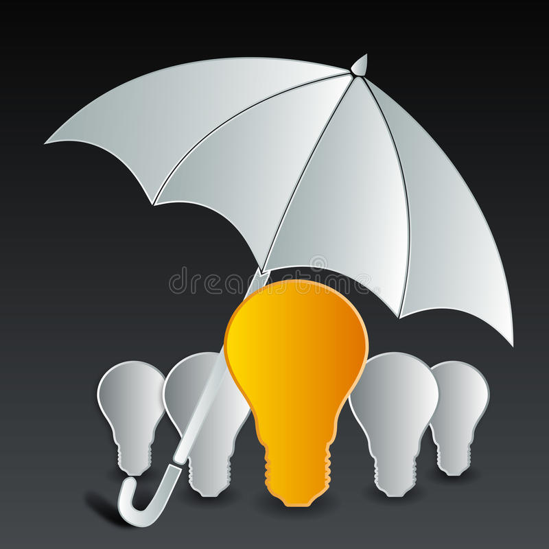 Bulb under umbrella vector illustration