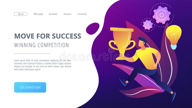 Move for success and winning competition landing page. royalty free illustration