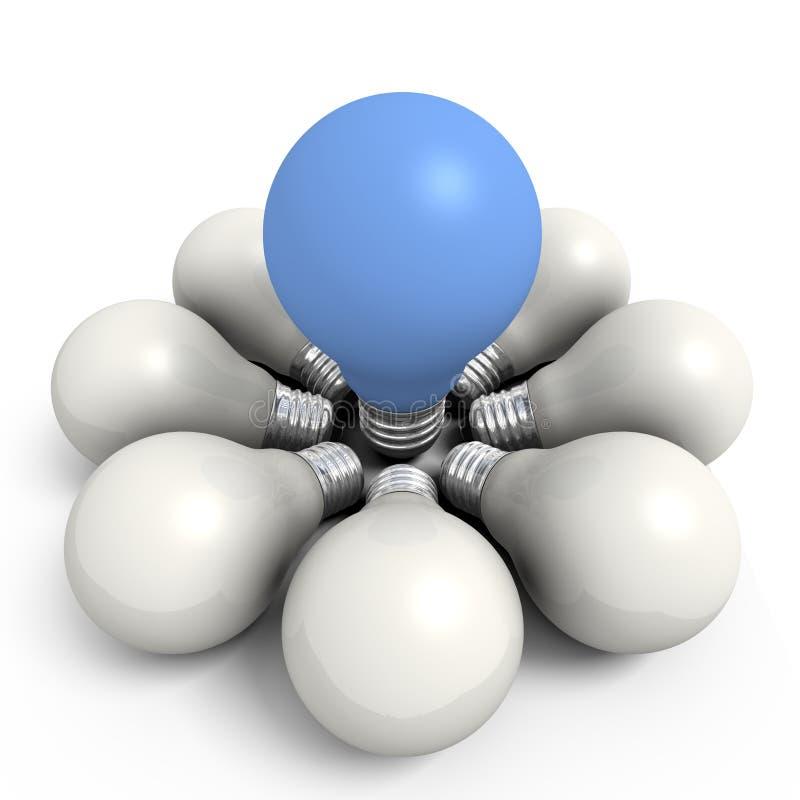Bulbo azul em um grupo branco ilustração do vetor