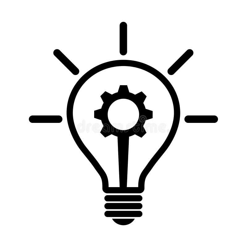 Bulbo com ícone da engrenagem ilustração do vetor