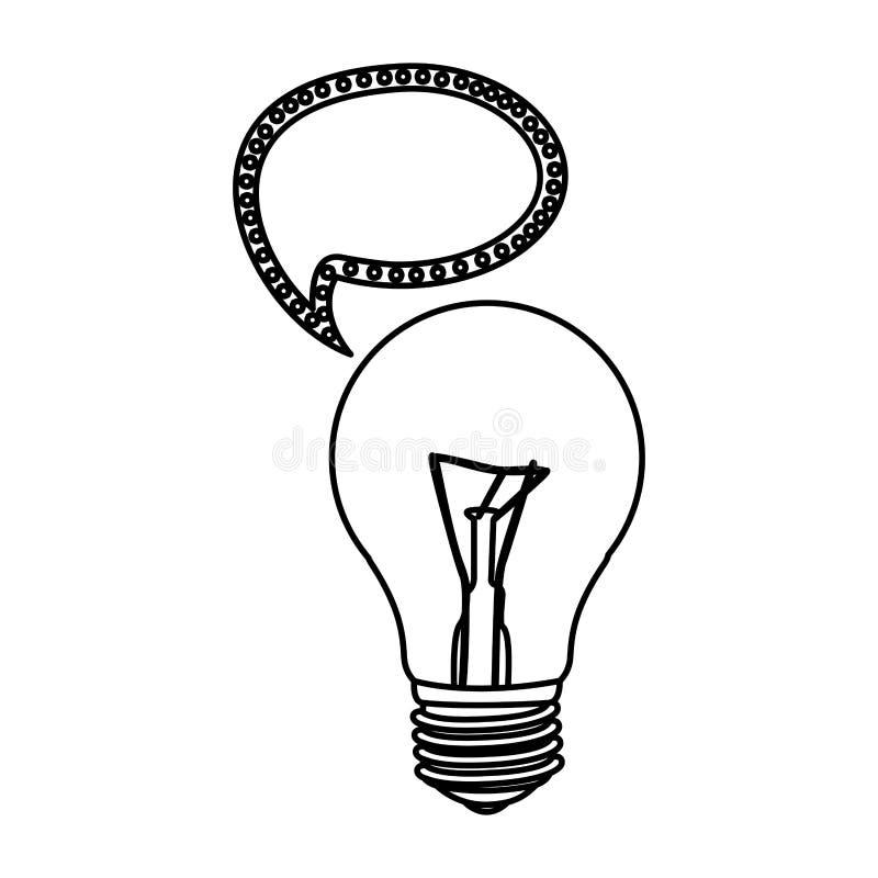 bulbo com ícone de uma comunicação da bolha ilustração stock