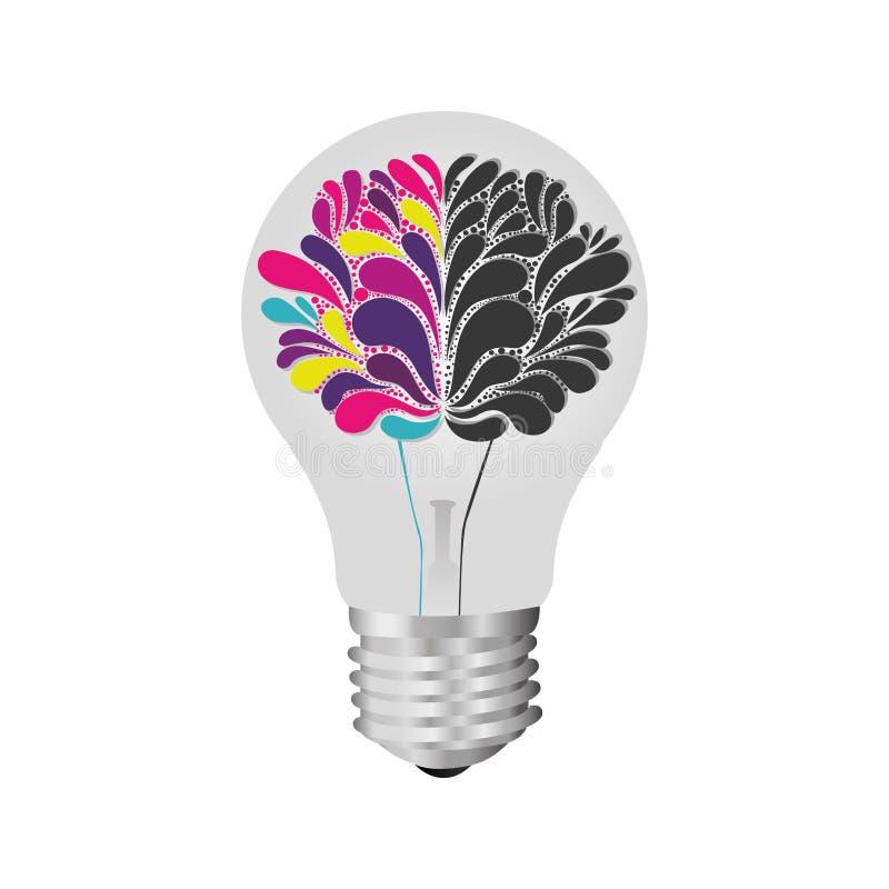 bulbo com o cérebro dentro do ícone ilustração royalty free