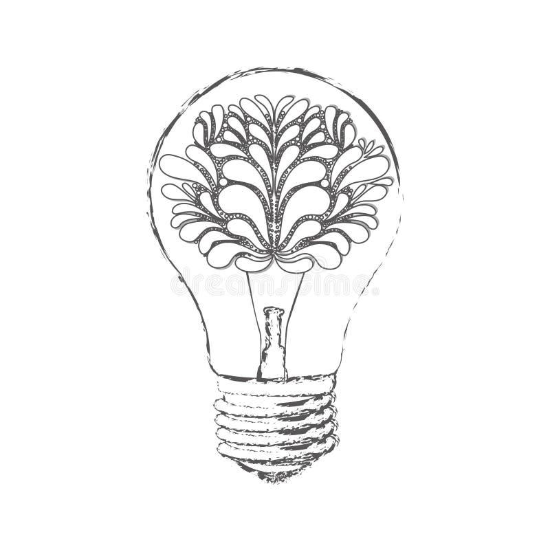 bulbo com o cérebro dentro do ícone ilustração do vetor