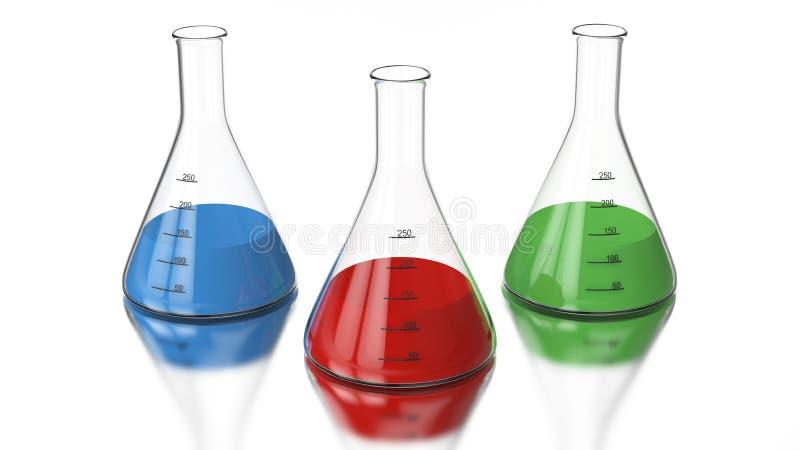 bulbo com um verde, vermelho da química da ilustração da rendição 3D, azul ilustração royalty free
