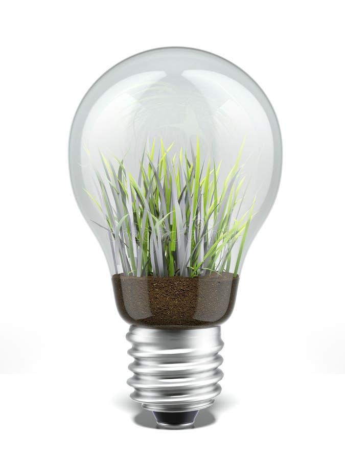 Bulbo con la hierba dentro imagen de archivo libre de regalías