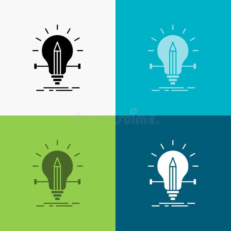 bulbo, creativo, solución, luz, icono del lápiz sobre diverso fondo dise?o del estilo del glyph, dise?ado para el web y el app Ve stock de ilustración