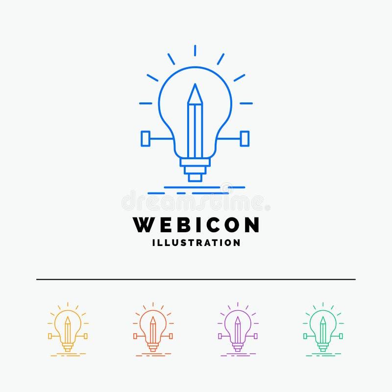 bulbo, creativo, solución, luz, línea de color del lápiz 5 plantilla del icono de la web aislada en blanco Ilustraci?n del vector stock de ilustración