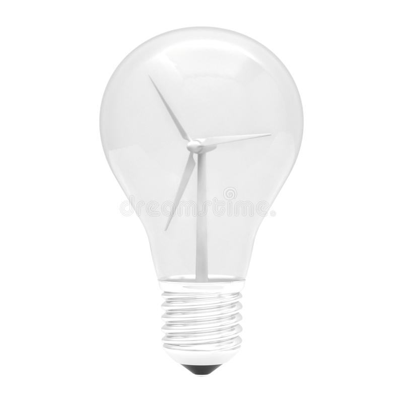 Bulbo 3d de la turbina de viento stock de ilustración