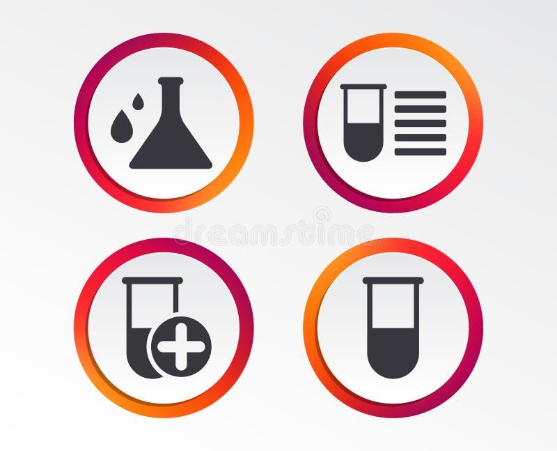 Bulbo da química com sinal das gotas Exame médico ilustração stock