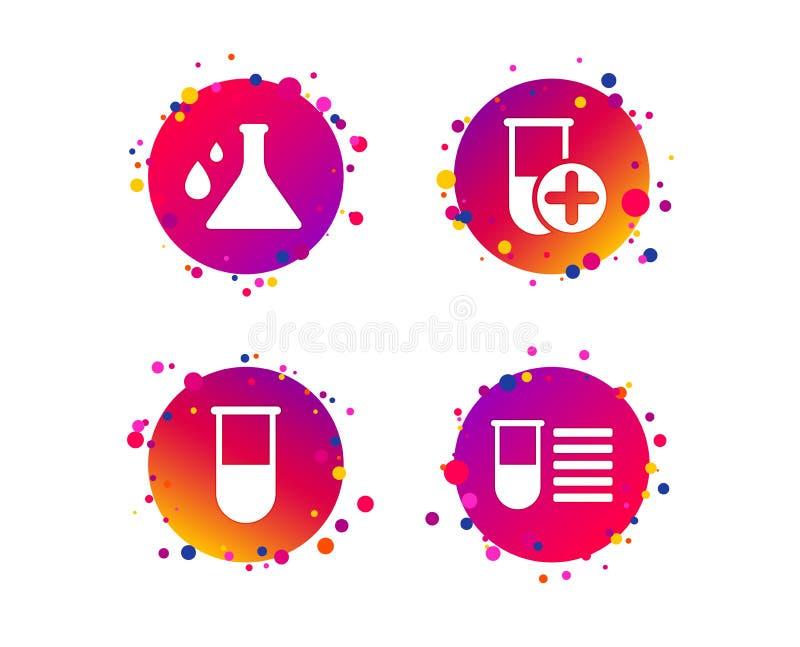 Bulbo da química com sinal das gotas Vetor do exame médico ilustração do vetor