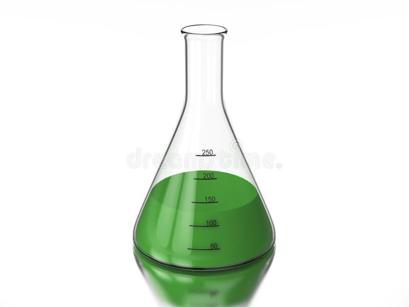bulbo da química da ilustração da rendição 3D com um líquido verde ilustração royalty free