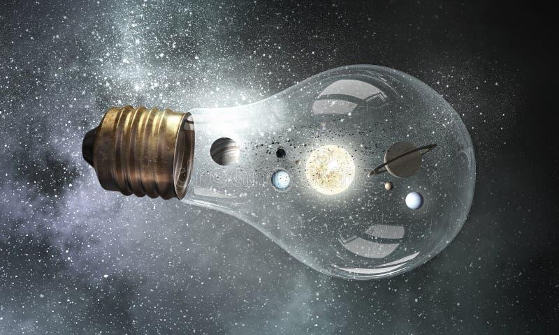Bulbo de cristal con los planetas dentro imagenes de archivo