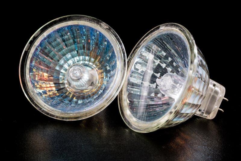 Bulbo de halogênio em uma máscara reflexiva Acessórios da iluminação em uma Dinamarca imagem de stock royalty free