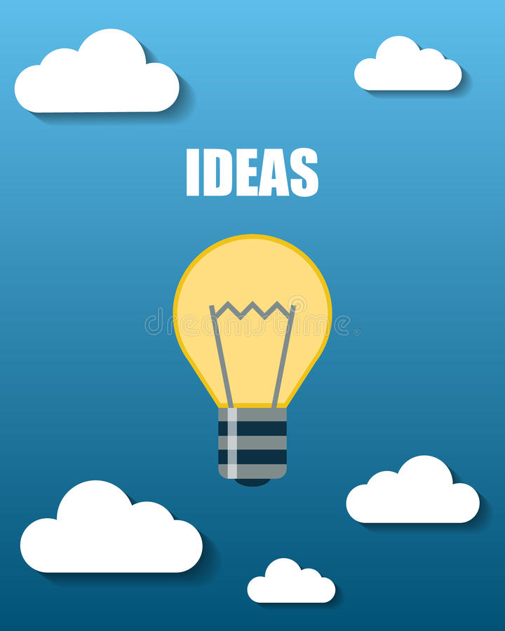 Bulbo de lámpara con las montañas y las nubes imagen de archivo libre de regalías