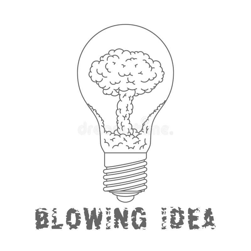 Bulbo de lâmpada com explosão nuclear para dentro Ideia de sopro símbolo liso EPS 8 ilustração stock