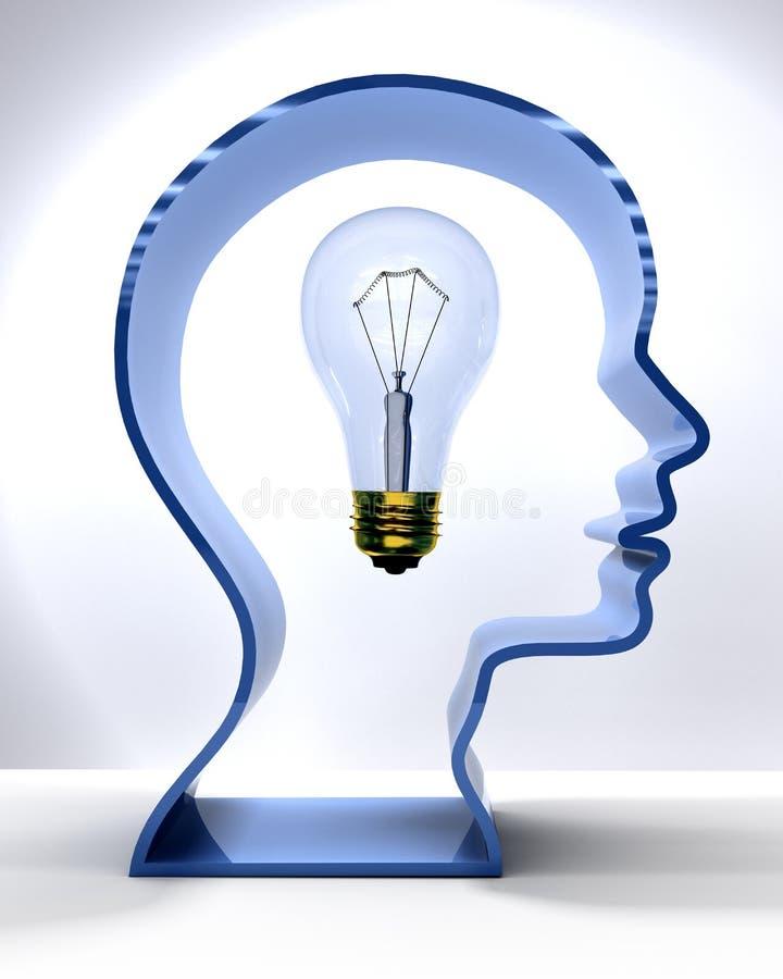 Bulbo de Person Mind Light da ideia na cabeça da silhueta ilustração royalty free