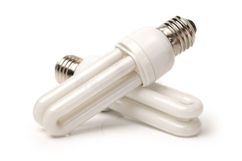 Bulbo de poupança de energia branco, fotos de stock