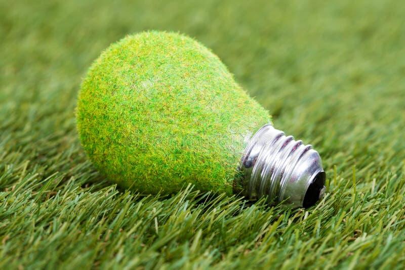 Bulbo de poupança de energia na grama verde foto de stock