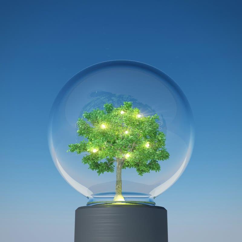 Bulbo del árbol que brilla debajo del cielo azul libre illustration