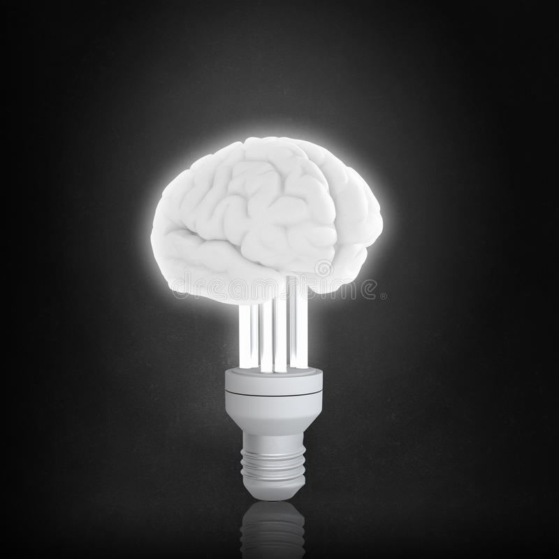 Bulbo del cerebro en oscuridad imágenes de archivo libres de regalías