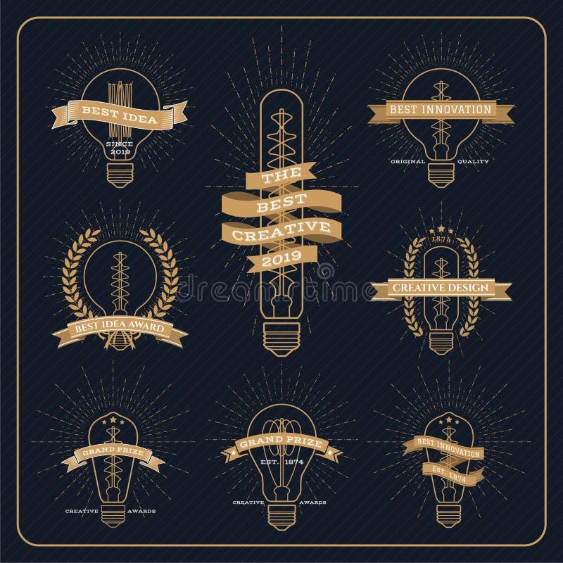 Bulbo del vintage creativo y etiqueta del premio de la idea con la explosión del rayo ilustración del vector
