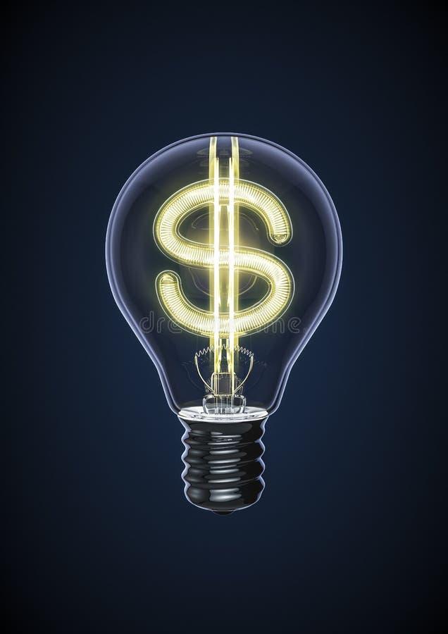 Bulbo do dólar ilustração do vetor