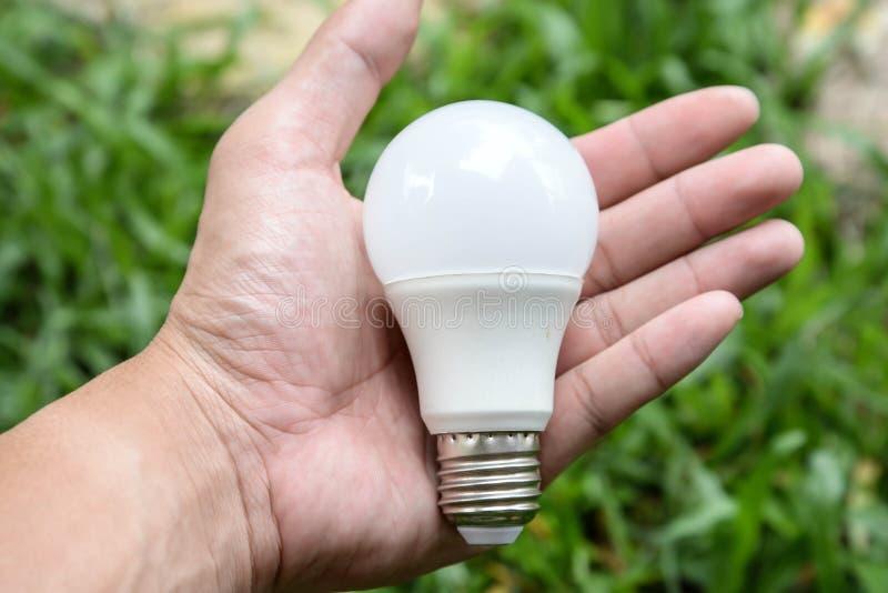 Bulbo do diodo emissor de luz da posse da mão fotos de stock royalty free