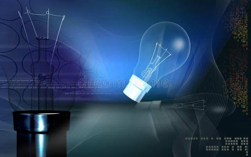 Bulbo e filamento ilustração stock