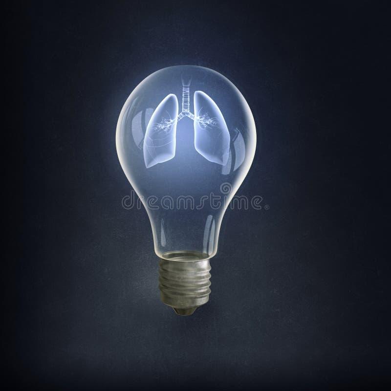 Bulbo e linhas eléctricas elétricos de Eco ilustração royalty free