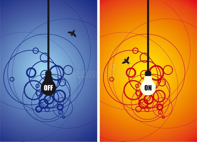 Bulbo e uma mosca no fundo do círculo ilustração royalty free