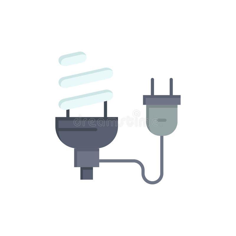 Bulbo, econômico, elétrico, energia, ampola, ícone liso da cor da tomada Molde da bandeira do ícone do vetor ilustração do vetor