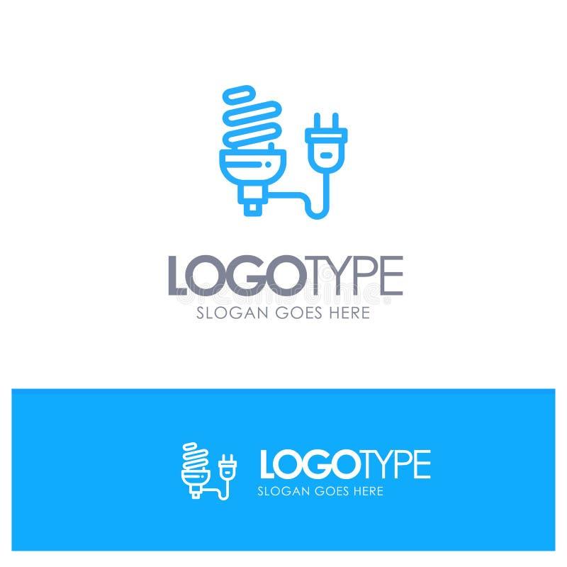 Bulbo, econômico, elétrico, energia, ampola, esboço azul Logo Place da tomada para o Tagline ilustração stock