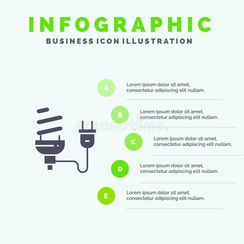 Bulbo, econômico, elétrico, energia, ampola, fundo contínuo da apresentação das etapas de Infographics 5 do ícone da tomada ilustração do vetor