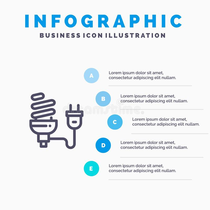Bulbo, econômico, elétrico, energia, ampola, linha ícone da tomada com fundo do infographics da apresentação de 5 etapas ilustração stock