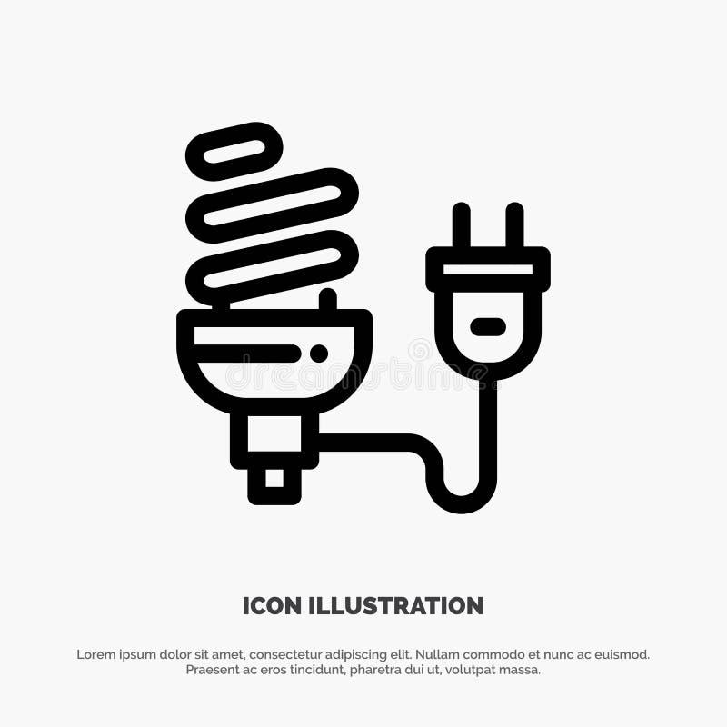 Bulbo, econômico, elétrico, energia, ampola, linha vetor da tomada do ícone ilustração stock