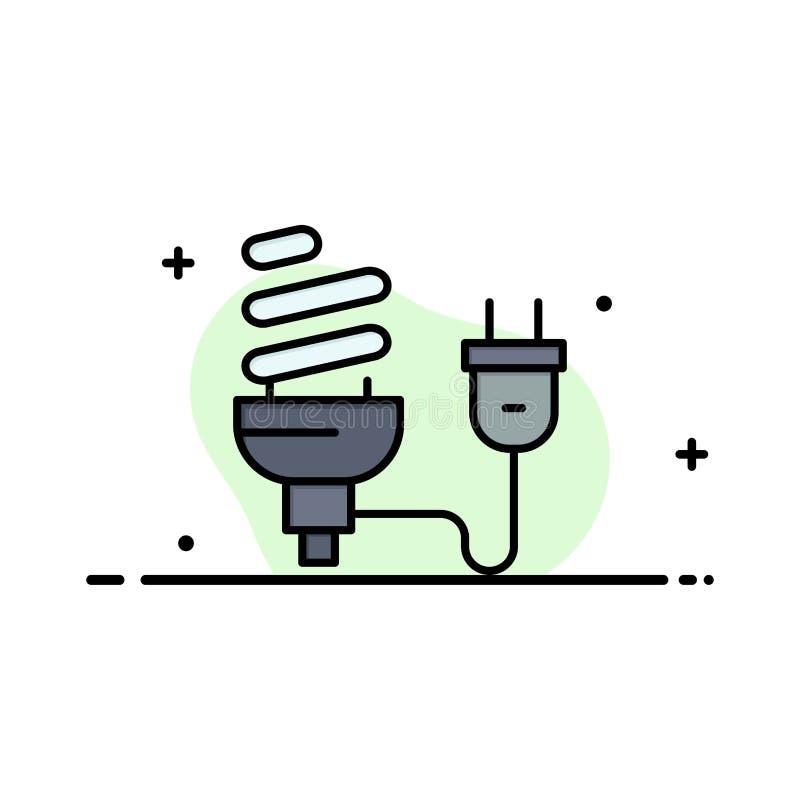 Bulbo, econômico, elétrico, energia, ampola, negócio Logo Template da tomada cor lisa ilustração stock