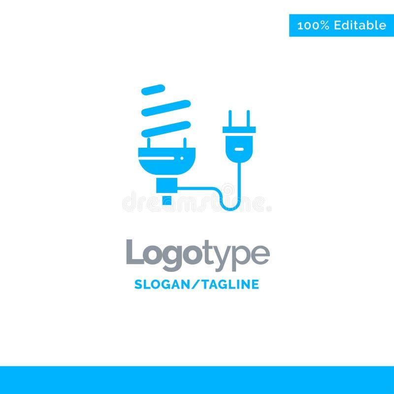 Bulbo, econômico, elétrico, energia, ampola, tomada Logo Template contínuo azul Lugar para o Tagline ilustração stock