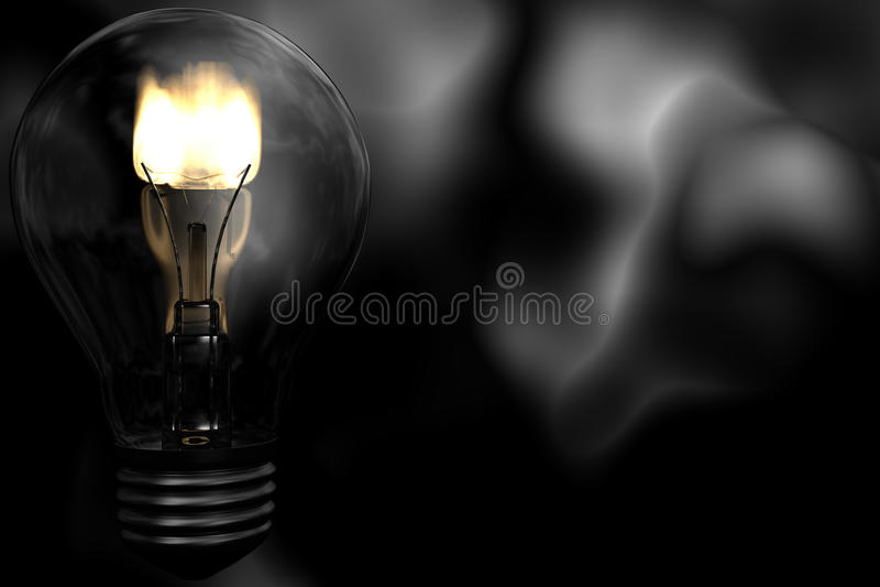 Bulbo elétrico com flama para dentro ilustração royalty free