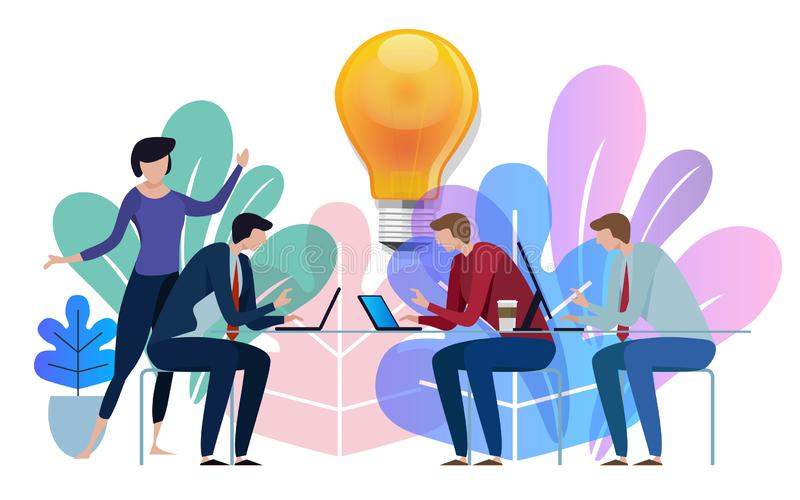 Bulbo grande da ideia acima Fala de trabalho da equipe do negócio junto na mesa grande da conferência Impressão digital ilustração royalty free