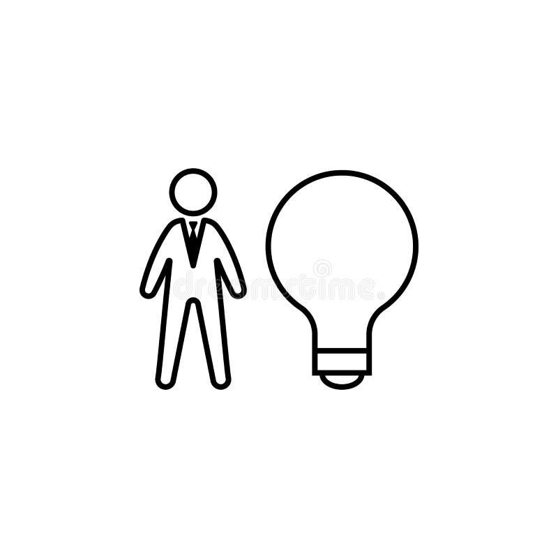 Bulbo, ideia, ícone do trabalhador no fundo branco Pode ser usado para a Web, logotipo, app móvel, UI, UX ilustração royalty free
