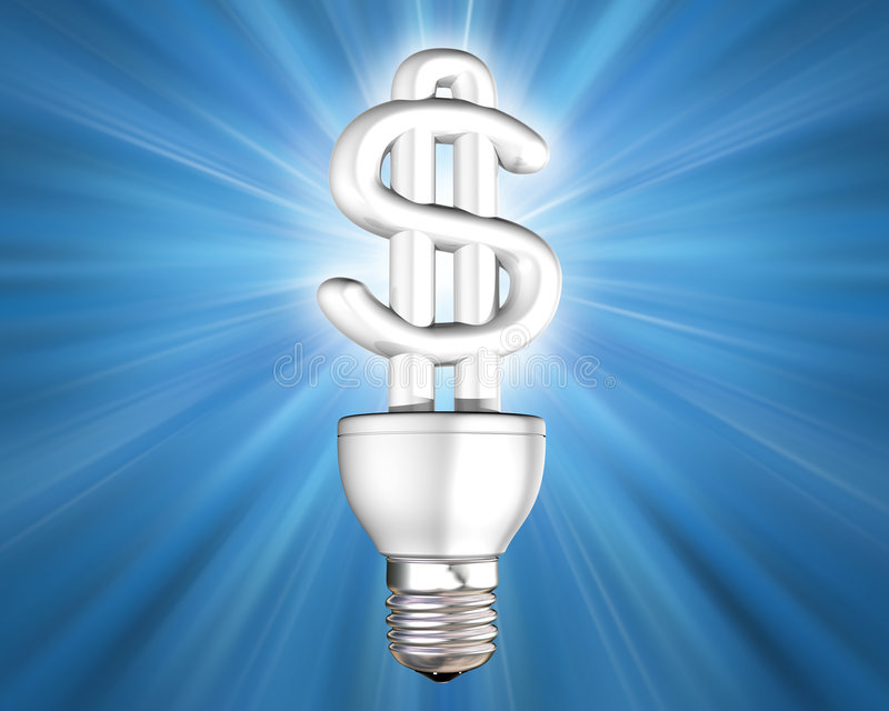 Bulbo iluminado da energia da economia do dinheiro ilustração do vetor