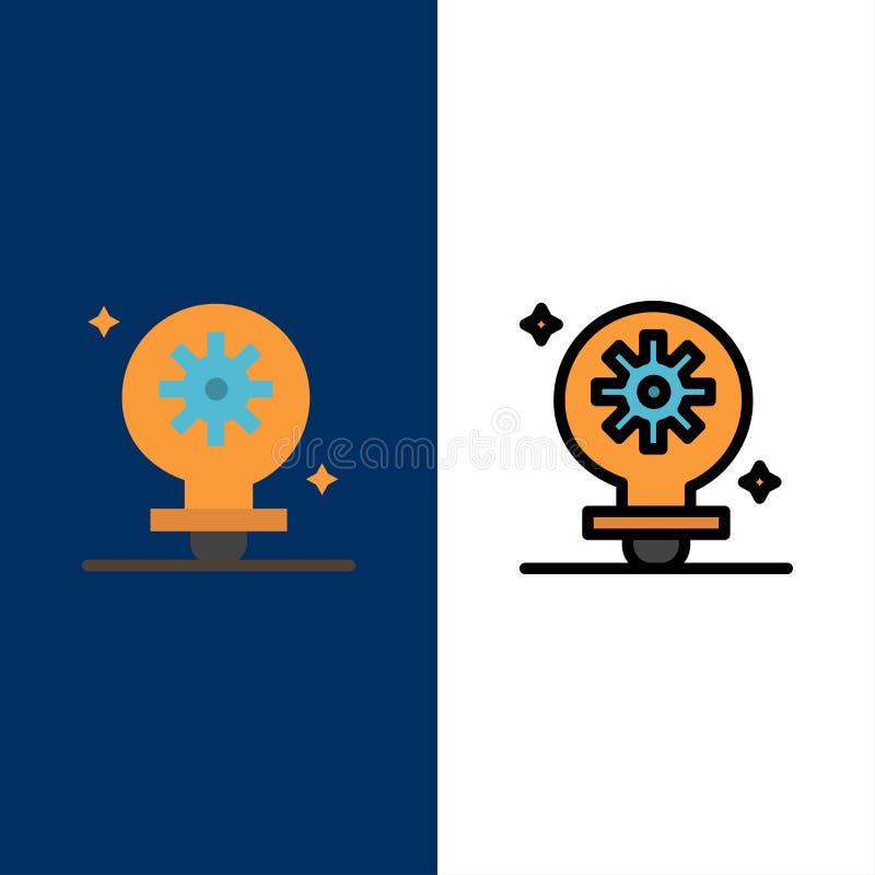 Bulbo, luz, ajuste, iconos del engranaje El plano y la línea icono llenado fijaron el fondo azul del vector stock de ilustración