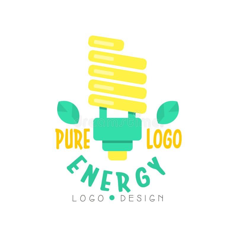 Bulbo moderno y texto de la luz eléctrica para la plantilla pura del logotipo de la energía Fuente alternativa verde y amarilla d ilustración del vector