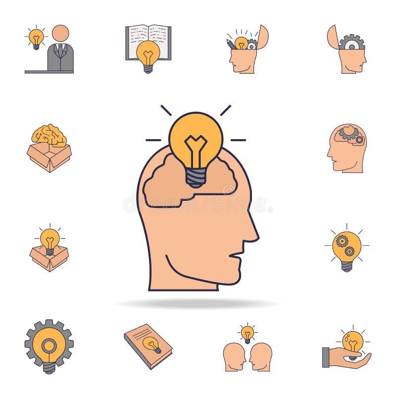 bulbo no ícone da cor do fild do cérebro humano Grupo detalhado de ícones da ideia da cor Projeto gráfico superior Um dos ícones  ilustração do vetor