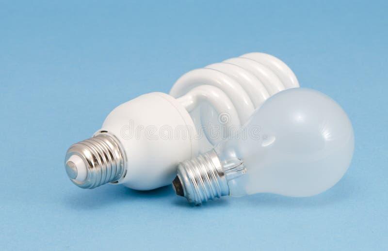 Bulbo novo do calor incandescent de luzes fluorescentes fotos de stock
