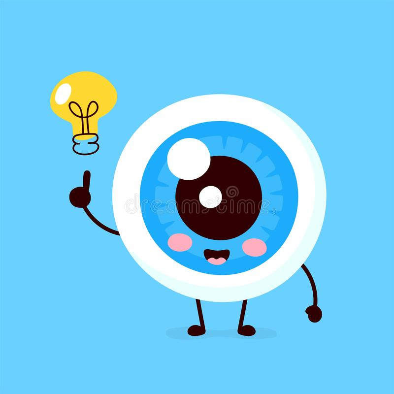 Bulbo oculare sveglio felice con il carattere della lampadina illustrazione di stock