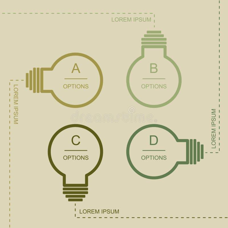 Bulbo plano infographic stock de ilustración