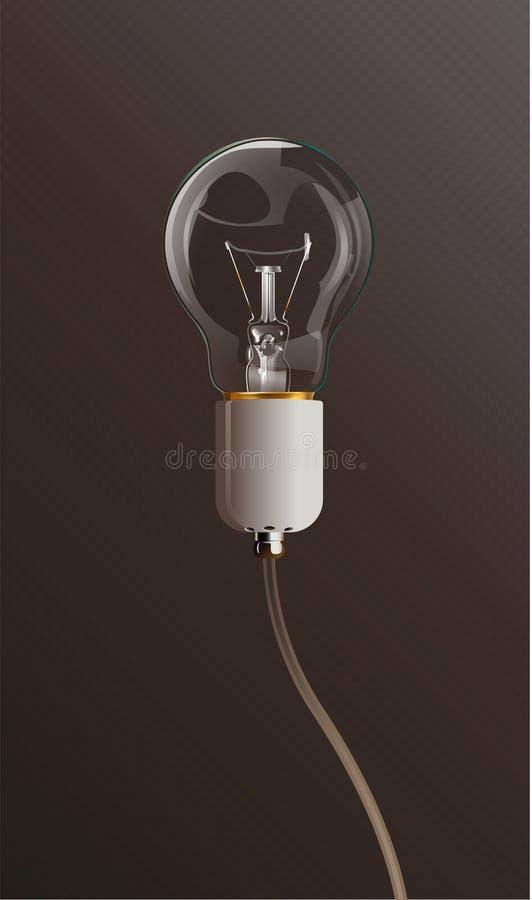 Bulbo transparente de la luz eléctrica con el tenedor y el alambre de la lámpara blanca Estilo realista Fondo aislado stock de ilustración