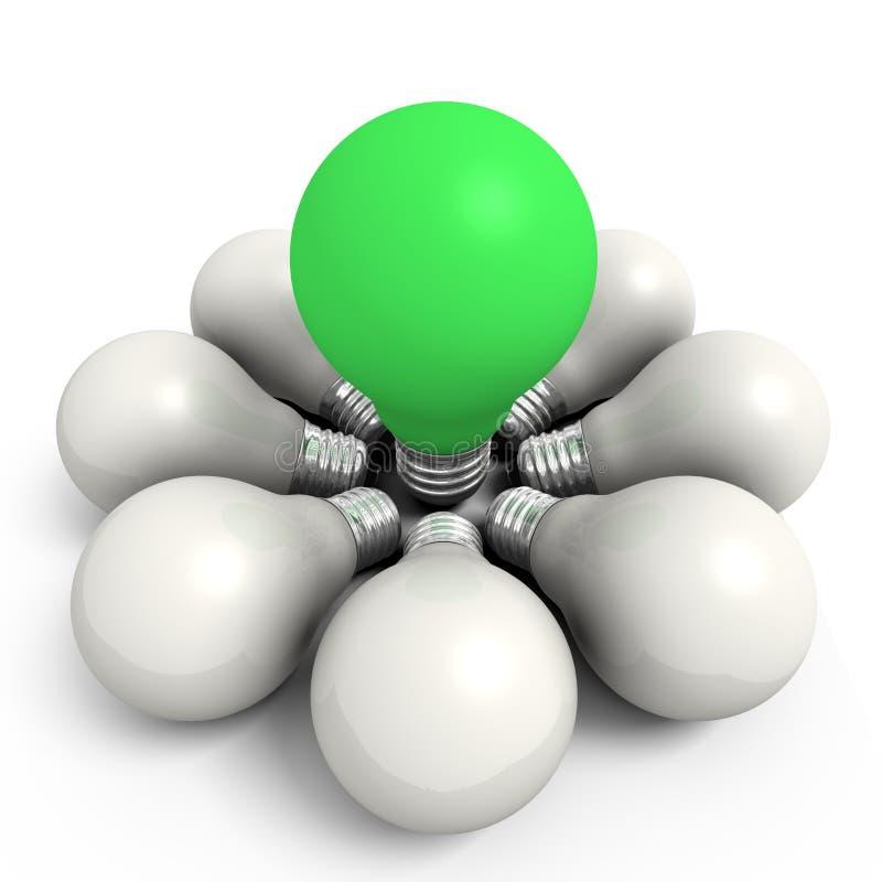 Bulbo verde em um grupo branco ilustração stock