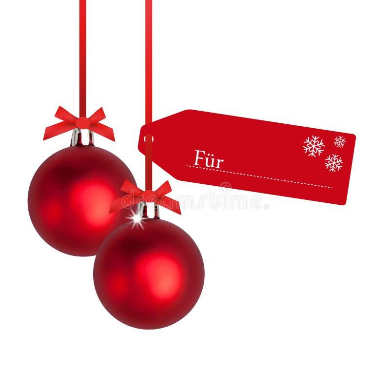 Bulbo vermelho do Natal com Tag ilustração royalty free